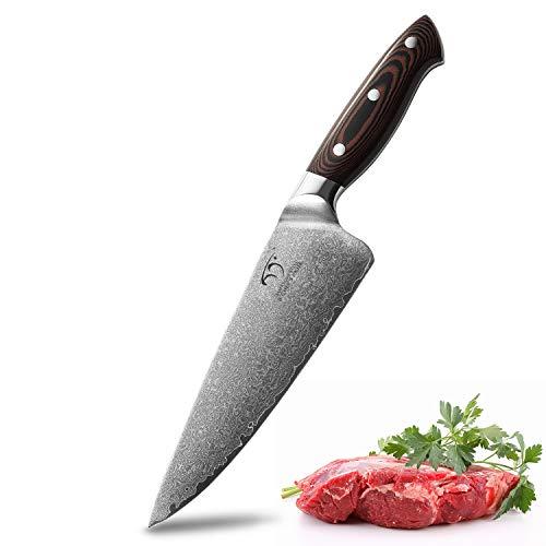 Cuchillo de chef Damasco de 8 pulgadas, Pro Grade 67 capa VG