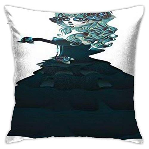 Throw Pillow Covers Day Of The Dead Dia De Los Muertos Scary Girl With Ball Dress Printteal And Dark Green Personalized Bedroom Decorative Throw Pillow Covers Sofa Colorful Throw