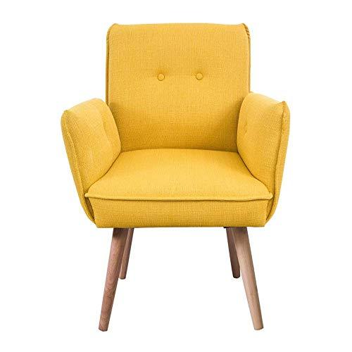 Decoración de muebles Silla de comedor Sofá capitoné de tela Diseño minimalista moderno tapizado con patas de madera maciza Respaldo alto Apartamento Dormitorio Balcón Sofá pequeño (Color: Gris)