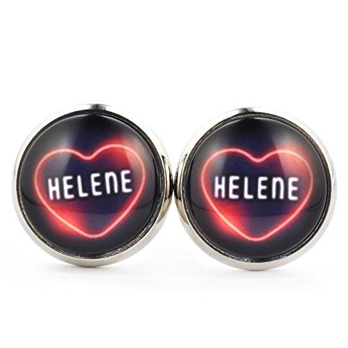 SCHMUCKZUCKER Damen Ohrstecker Motiv Helene Neon Herz Modeschmuck Ohrringe silber-farben dunkelblau 14mm