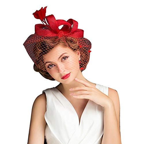 BOLAWOO-77 Sombrero De Mujer Boda Pelo Pinza De Sombrero Velo Mode De...