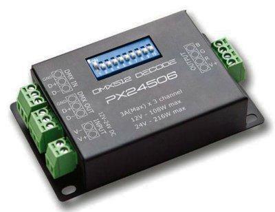 Energmix LED Controller PX-24506 RGB DMX 3-Kanal PX24506 Decoder Treiber DMX 512 Verstrker Controller 12V 24V RGB LED, 2351