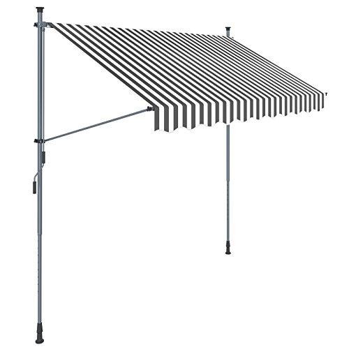 SONGMICS Klemmmarkise, 250 cm, Balkonmarkise, Sonnenschutz, Markise mit Gestell, Verstellbare Höhe 2-3 m, Grau-Weiß gestreift GSA253GW