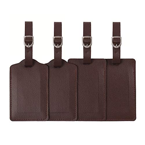 Luggage Tags,Leather Personalized Travel id Tags Set Bulk For Suitcase,Baggage Tags with Name Card Holder For kids,Women,Men-4 Pack(Dark Brown)