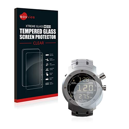 savvies Pellicola Vetro Temperato Compatibile con Suunto Elementum Aqua Steel Protezione, Schermo Protettivo, Glass Durezza 9H