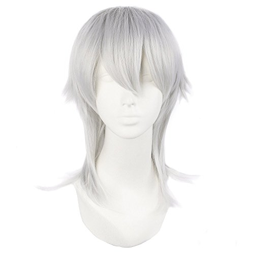 MapofBeauty 20'/50cm Mens In The Long Section Silver-gray Hair Cosplay Wigs