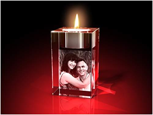 GLASFOTO.COM, Glasfoto Teelicht, 50 x 80 x 50 mm, mit Ihrem eigenen Foto als individuell anpassbares Geschenk, Kristallglas Innengravur in Premiumqualität