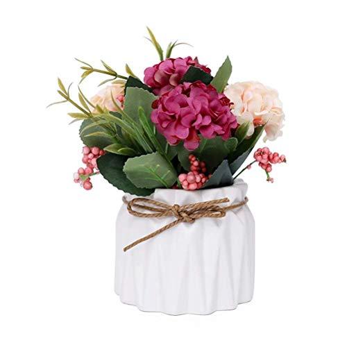 FABSELLER Fiori di ortensia artificiali, ortensie artificiali in vaso di ceramica, mini pianta in vaso, per matrimoni, feste, casa, ufficio, tavolo bianco