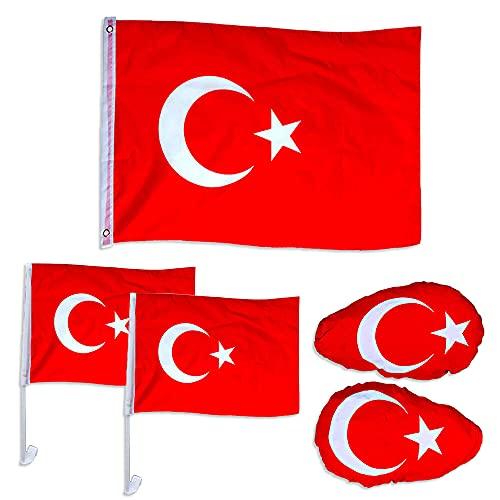 Murago - 5 teiliges Fanset für Auto - Türkei Türkiye Bayrak Fahne Flagge Fußball EM Fanartikel Spiegelfahne Autofahne Dekoration