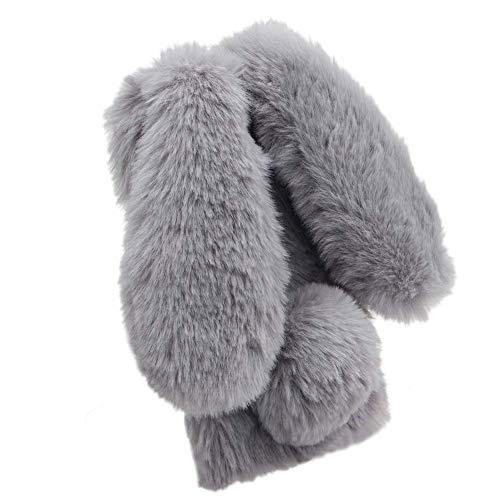 Jorisa Plüsch Hülle Kompatibel mit Samsung Galaxy A40,Niedlich Pelzig Hase Ohren Flauschige Haarball Weich Winter Warm Handyhülle Süße Kaninchen Faux Pelz Glitzer Diamant Schale,Hellgrau