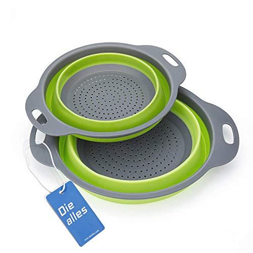 Passoire Pliable Silicone, Diealles Pliable Passoire Pliante Cuisine Fruit Basket Panier de Filtre Collapsible Colander Set pour La Cuisine Usage Domestique (Vert)