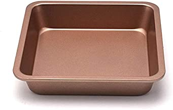 8-Inch Chef's Classic Nonstick Bakeware Square Cake Pan, Roasting Pan & Brownie Pan(Champagne Gold)