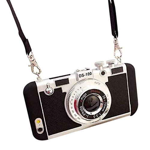 Acutty Emily in Paris 3D Phone Case Vintage Camera Design Silicone Cover with Long Strap Rope