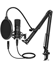 XLR Condenser Microphone, UHURU Professional Studio Cardioid Microphone Kit with Boom Arm, Shock Mount, Pop Filter, Windscreen and XLR Cable, for Broadcasting,Recording,Chatting and YouTube(XM-900)