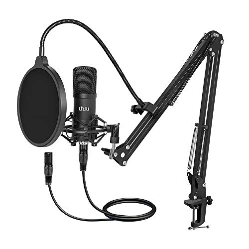 XLR Condenser Microphone, UHURU Professional Vocal Cardioid Microphone Kit with Boom Arm, Shock Mount, Pop Filter, Windscreen and XLR Cable, for Broadcasting,Recording,Podcasting and YouTube(XM-900)