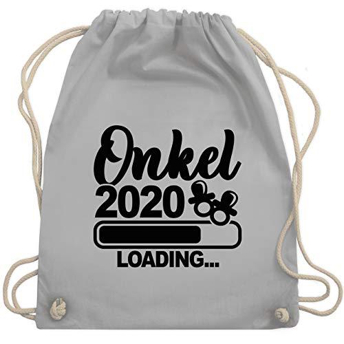 Shirtracer Bruder & Onkel - Onkel 2020 loading mit Schnullern - schwarz - Unisize - Hellgrau - Statement - WM110 - Turnbeutel und Stoffbeutel aus Baumwolle