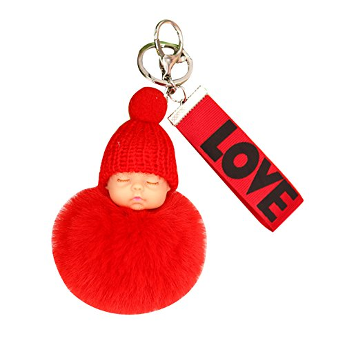 Tangbasi süßer Plüsch-Schlüsselanhänger Puppe Love Webbing niedliche schlafende Baby-Puppe Kunstfell Ball Frauen Schlüsselanhänger Tasche Anhänger rot