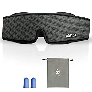 Antifaz para Dormir, Tropro Máscara de ojos Ajustable 3D, Diseño Avanzado de ala de nariz, 100% Oscuridad Absoluta, Espuma Viscoelástica de Rebote Transpirable, Velcro Suave de alta Calidad