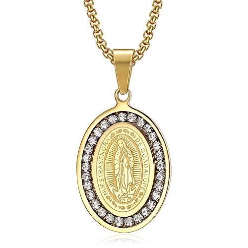BOBIJOO JEWELRY - Colgante Medalla de la Virgen de Nuestra Señora de Guadalupe de Acero Chapado en Oro de México Falsos Diamantes de Oro de la Cadena de