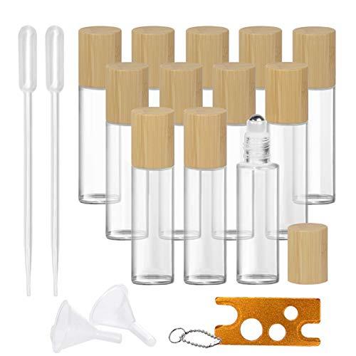 12 Roll On Glasflaschen für ätherisches Öl, Creatiees 15ml Glasroller Nachfüllbarer Behälter mit Bambusdeckel, Glas Roller Flaschen Metall Roller Ball Flasche Container für Aromatherapie, Duftstoff
