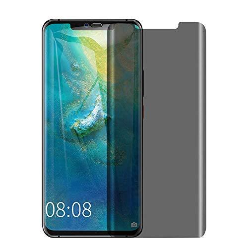 Protector de pantalla de cristal templado para Huawei Mate 20 Pro, 2 unidades, cristal templado 3D curvado HD transparente sin burbujas, dureza 9H, vidrio templado para Huawei Mate 20 Pro, antiespía