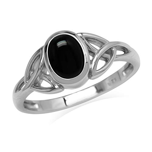 Silvershake 7x5 mm Oval Black Onyx Stone 925 Sterling Silver Triquetra Celtic Knot Ring Size 9