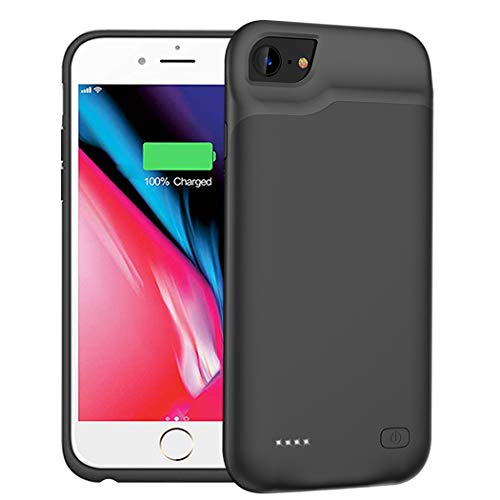 Battery Case for iPhone 6/6s/7/8, 6000mAh Portable Protective Charging Case Compatible with iPhone 6/6s/7/8 (4.7 inch) Rechargeable Extended Battery Charger Case (Black)