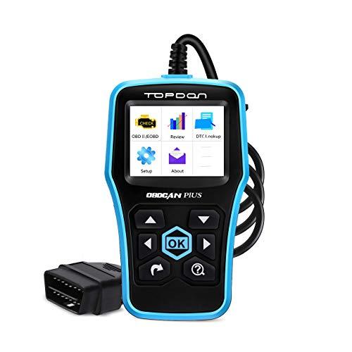 TOPDON Plus3.0 Obd2-Diagnosegerät universal für alle Fahrzeuge, 2020 NEUEST OBDII EOBD CAN Kfz-Fehler-Auslesegerät mit alle 10 Test Modus, 9 Sprachen Deutsch inkls. Software Free Update Daten Drucken