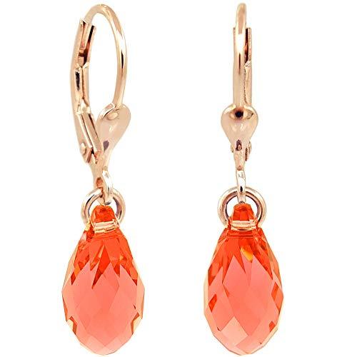 Ohrringe Rosegold Rot Koralle Tropfen Swarovski® Kristalle 925 Sterling Silber NOBEL SCHMUCK