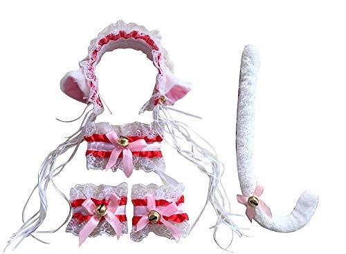 Blanco y rojo - gatito sexy de gato de lot - diadema - cola - pulseras - collar - disfraz - carnaval - halloween - accesorios - mujer niña - sonajeros - idea de regalo de cumpleaños de navidad