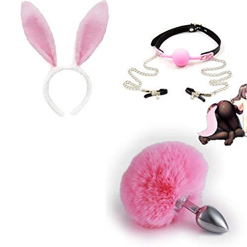 Diadema de orejas de felpa de metal con cola de liebre sinttica esponjosa + disfraz de cuello de bola para la boca, conjunto de iniciacin para principiantes para ella - S