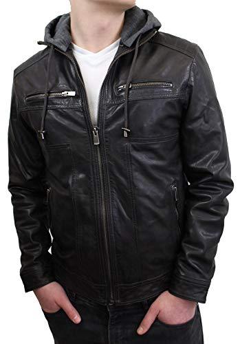 Lederjacke Alby - Herren Jacke aus echt Lamm Leder mit abtrennbarer Kapuze in schwarz (Schwarz, 3XL)