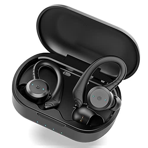 Auriculares Inalambricos Bluetooth 5.1, Retirable Gancho para la Auriculares Bluetooth Deportivos Cascos Inalambricos y HD Mic, IP7 Impermeable, Cancelación de Ruido In Ear Auriculares con Caja Carga