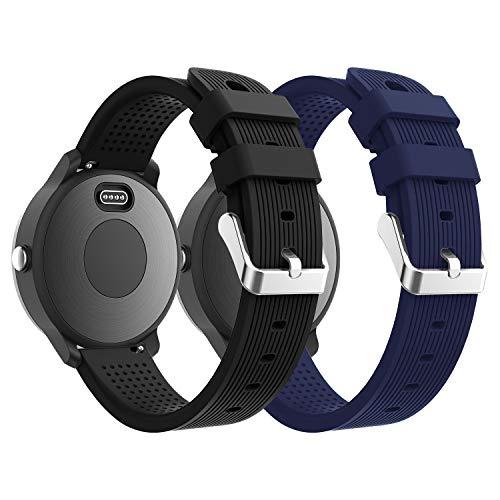 Supore Garmin Vivoactive 3 Armband, Verstellbare weiche Silikon Ersatzarmband für Garmin Vivoactive 3/Samsung Getriebe S2 Classic/Moto 360 2 Generation 42mm (Schwarz + Mitternachtsblau)