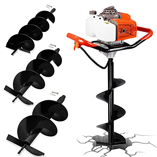 ECO LLC 63CC Gas Powered Auger Post Hole Digger with 3 Earth Auger Drill Bits (6