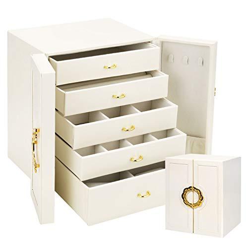 Gifort Caja Joyero Grande, Caja Organizador de Joyas de Cuero con 5 Cajones para Pendientes, Anillos, Collares y Relojes, Jewelry Organizer para Mujer y Niña, Regalo Ideal, Blanco