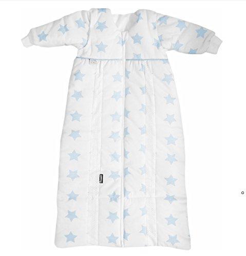 Odenwälder Babyschlafsack Prima Klima Thinsulate I leichter Kinder-Schlafsack I Winter-Schlafsack Jungen Mädchen I 100% Baumwolle & längenverstellbar, Größe:90-110, Design:Sterne blau