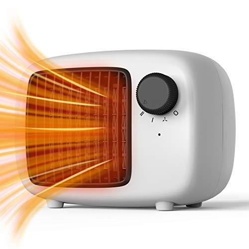 SHINEZONE Calefactor de cerámica con dos niveles de potencia, calefactor de aire eléctrico portátil, calefactor eléctrico para salón, baño, oficina, protección antivuelco, mini calefactor blanco