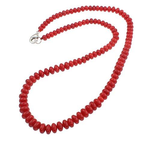 TreasureBay Collar de coral rojo natural, 19 cm,...
