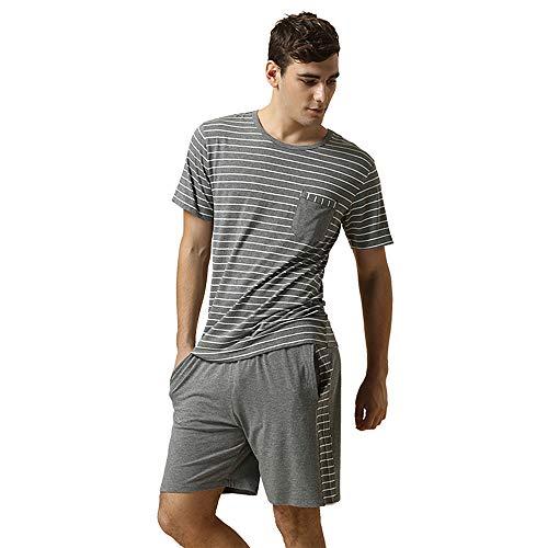 Sommer Streifen Schlafanzüge kurzer männer Modal Baumwoll Nachtwäsche Set Kurze àrmel Set Männer Pyjamas, Grey, S