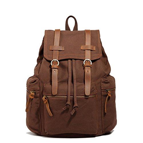 DRF Zaino da Donna Uomo in Tela e pelle casual sacchetto di spalla per Scuola Viaggio SKU:BG-43 (L)