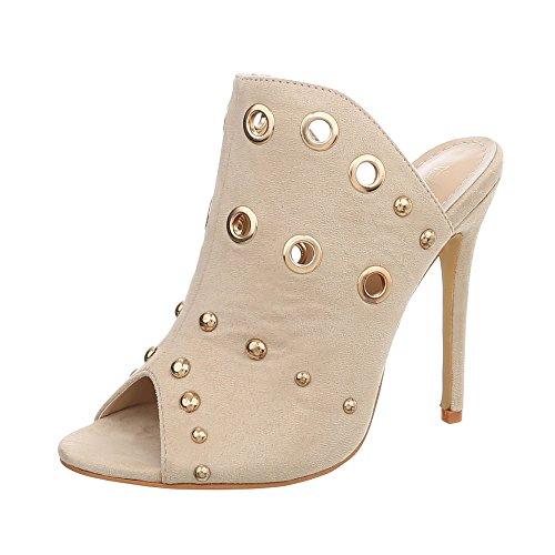 Ital-Design Pantoletten Damen-Schuhe Pfennig-/Stilettoabsatz High Heels Sandalen & Sandaletten Beige, Gr 36, Ksl058-