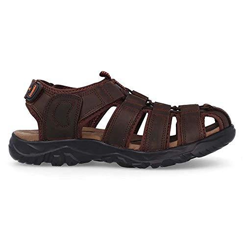 Sandalia Cuero Marron Oscuro Paredes OBI - Velcro - Talla 42