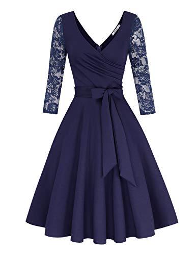 KOJOOIN Damen Spitzenkleid Vintage 50er V-Ausschnitt Abendkleid Rockabilly Retro Kleider Hepburn Stil Cocktailkleid Langarm Dunkelblau【EU 46】/XL