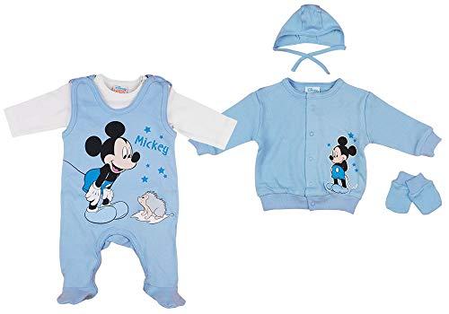 Disney Baby Junge Set 5-teiler mit Mütze ärmelloser-Strampler Body Kratzhandschuhe Jacke in Größe 50 56 62 100% Baumwolle Mickey Mouse Erstausstattung Farbe Modell 1, Größe 56
