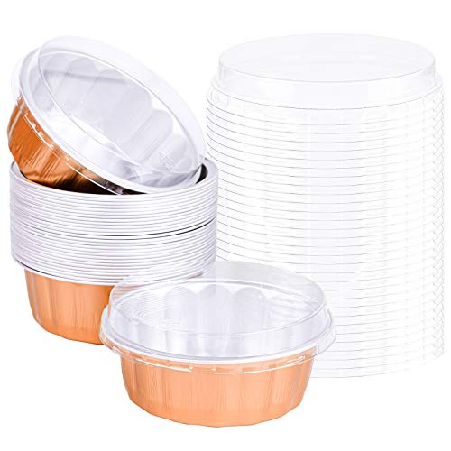 Aodaer 30 Packs 235 ml Disposable Aluminum Foil Cups Cupcake Liners Round Tart Pans Muffin Cupcake Baking Cup Pudding Cups Cases with Lids for Party, Wedding, Baby Shower, Rose Gold