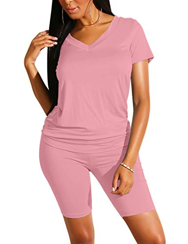 BORIFLORS Women's Causal 2 Piece Outfits Jumpsuits V Neck Basic Tops T Shirt with Sexy Shorts Set,XX-Large,Pink