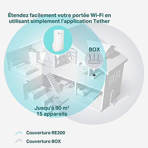 TP-Link Répéteur WiFi(RE200), Amplificateur WiFi AC750, WiFi Extender, WiFi Booster, 1 Port Ethernet, Couvre Jusqu'à 90㎡, Compatible avec Toutes les Box Internet
