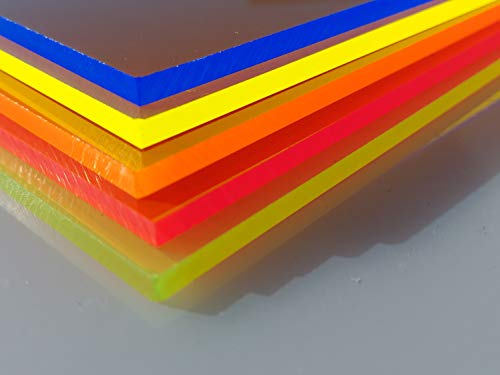 Plaque Acrylique Fluorescent Orange 1000 x 500 x 3 mm