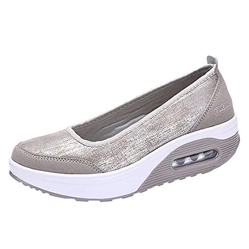 Women's Walking Shoes Slip-on Casual Running Jogging Platform Bottom Shoes(White,39)